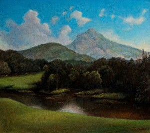 "CREATIVE AGE ART EXHIBIT: Frances Hairfield's ""Linville View of Grandfather Mt."""